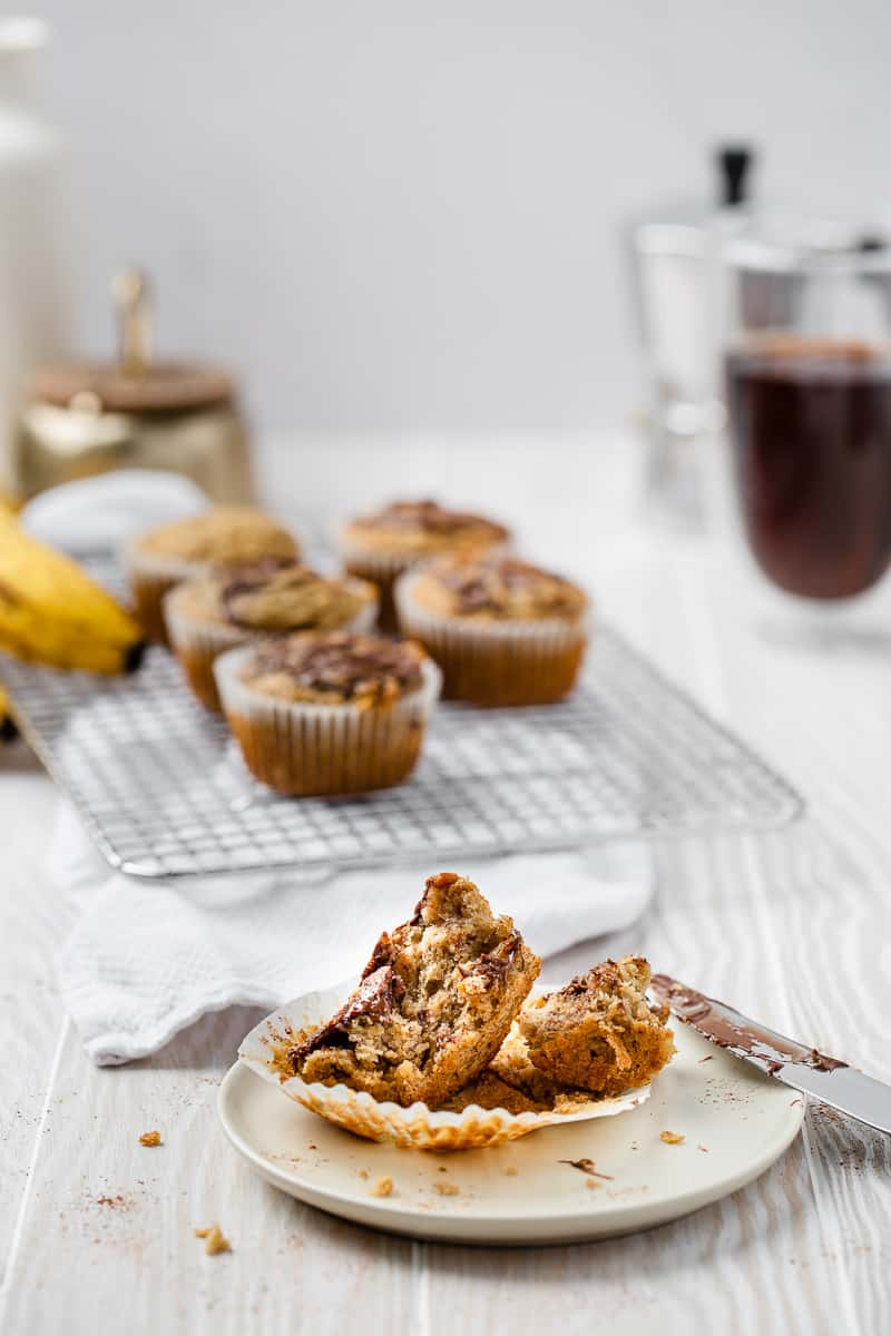 banana nutella muffin split open on a plate