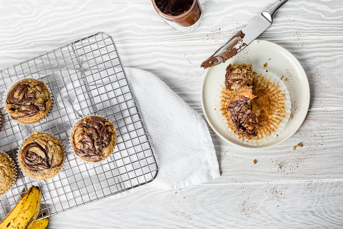 overhead view of nutella swirls on muffin tops