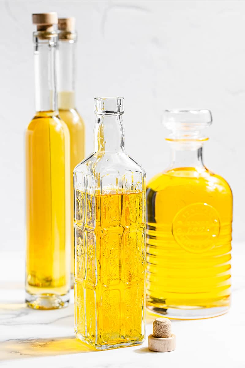 different sized bottles of homemade limoncello