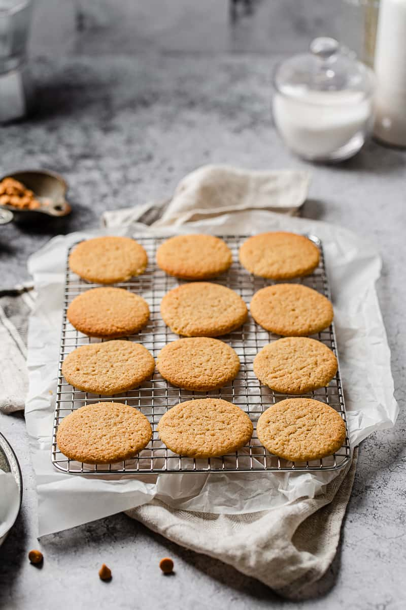 butterscotch cookies on a cooling rack