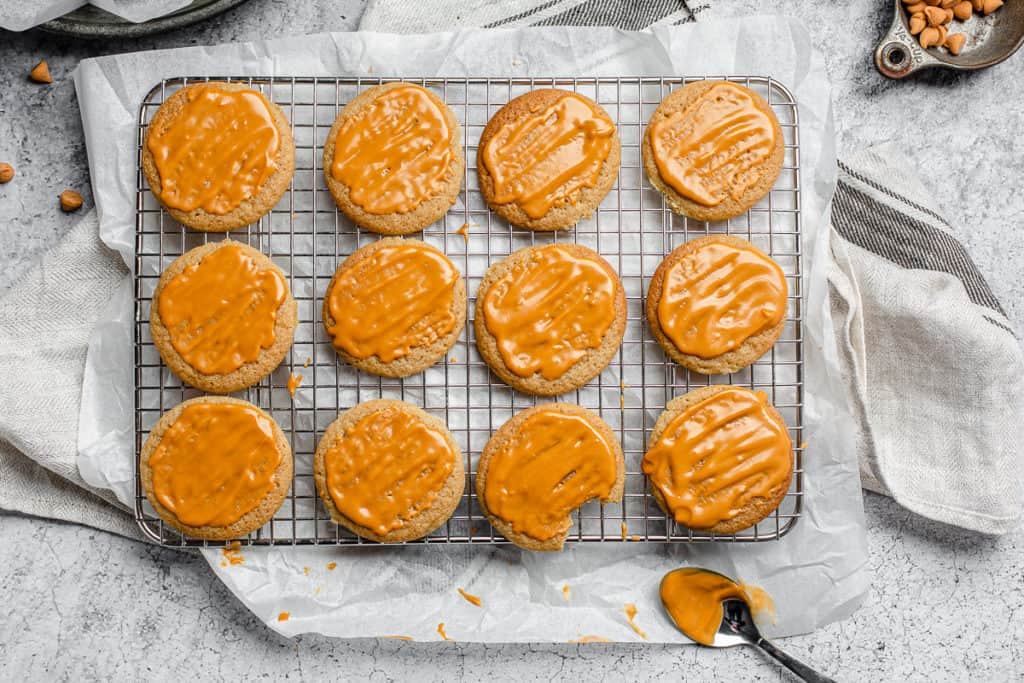 top view of butterscotch cookies with glaze