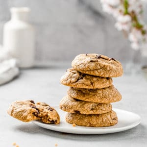 Stack of brown butter chocolate chunk cookies on a plate