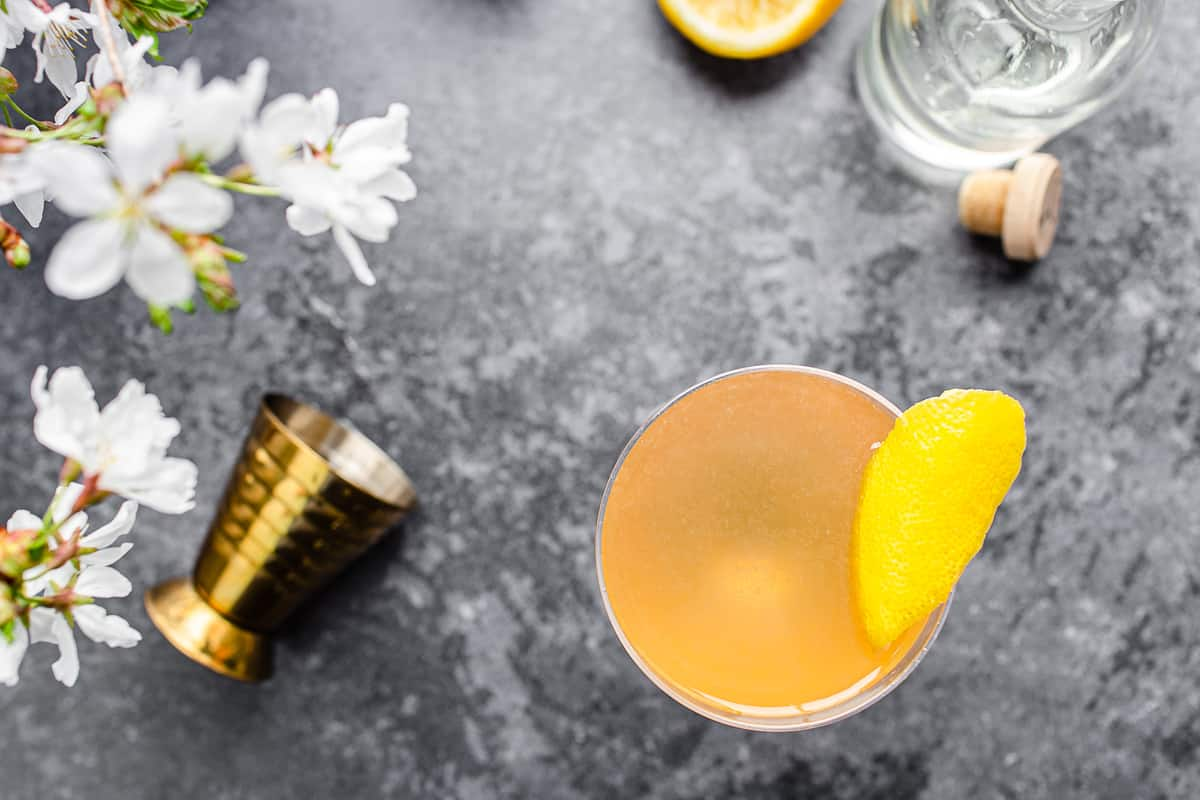 top view of cocktail with lemon peel and measuring cup