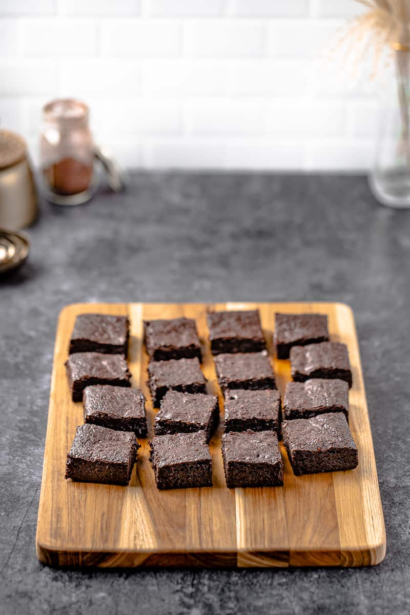 brownies cut up on top of a cutting board