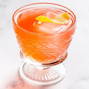 top view of gin campari sour cocktail