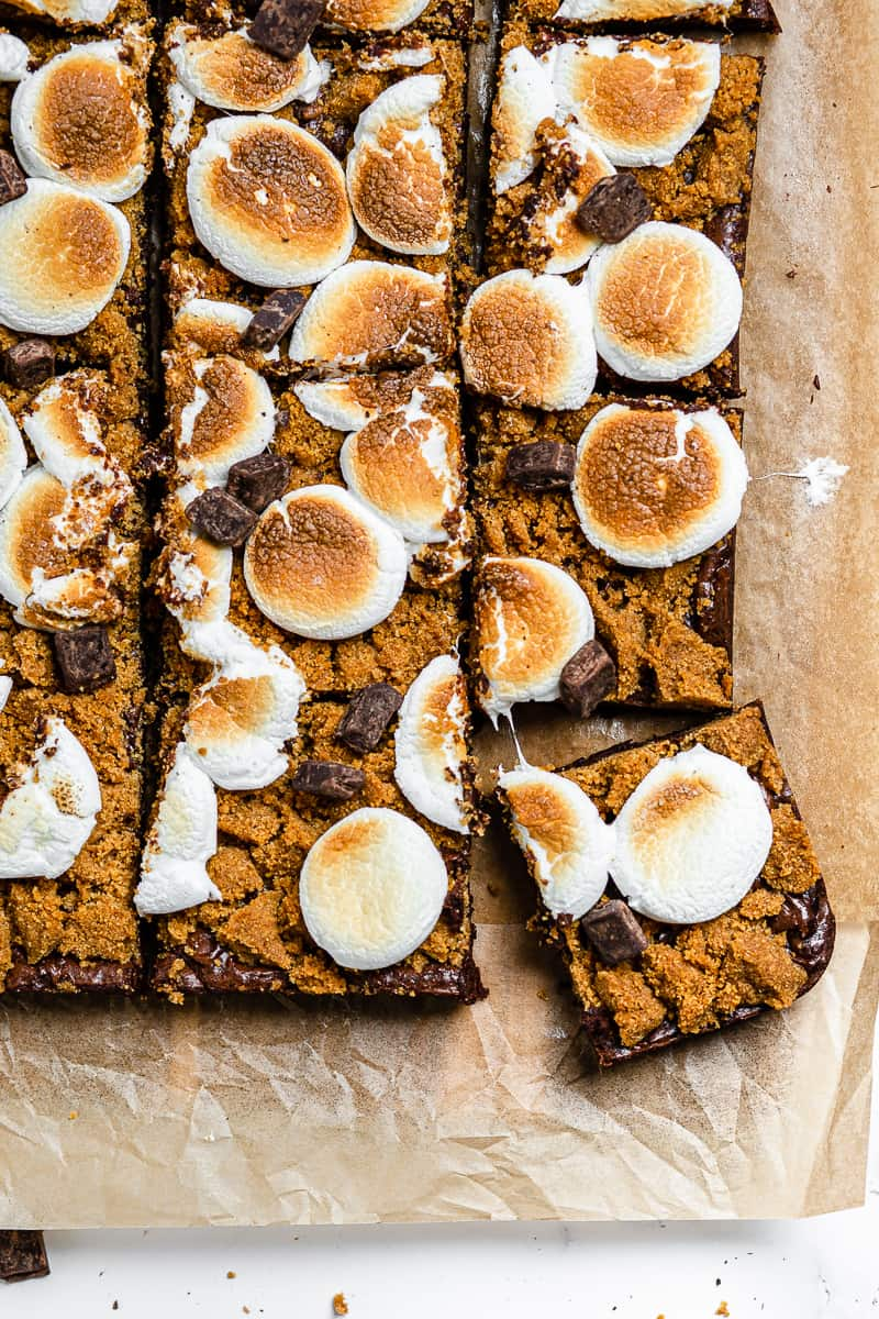 overhead shot of cut up smores brownies
