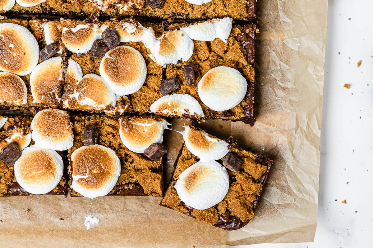 cut up brownies with one pulling away from the rest