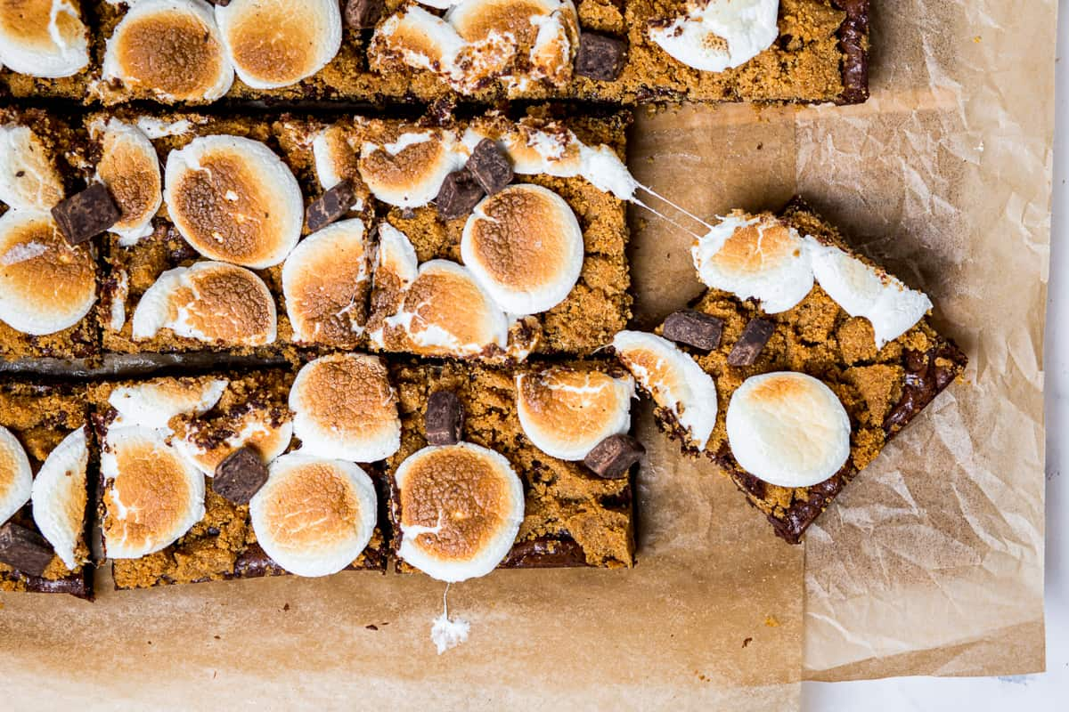 overhead shot of smores brownies with gooey marshmallow