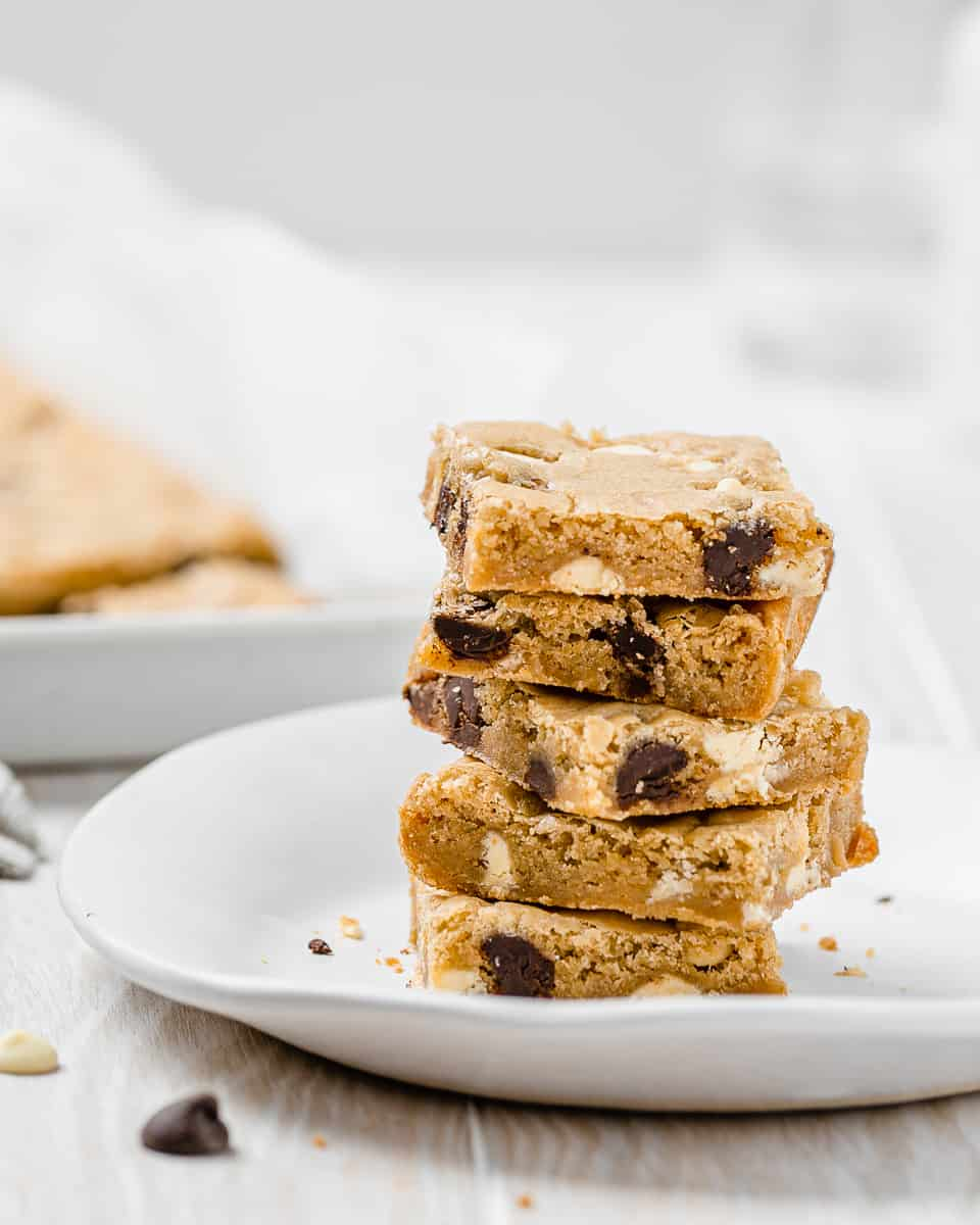 stack of two-chip blondies on a plate