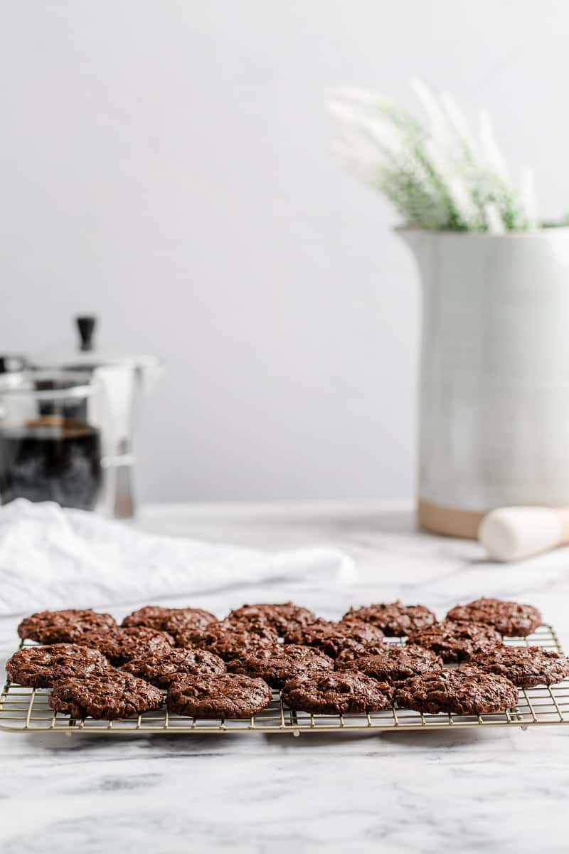 chocolate toffee cookies on a cooling rack