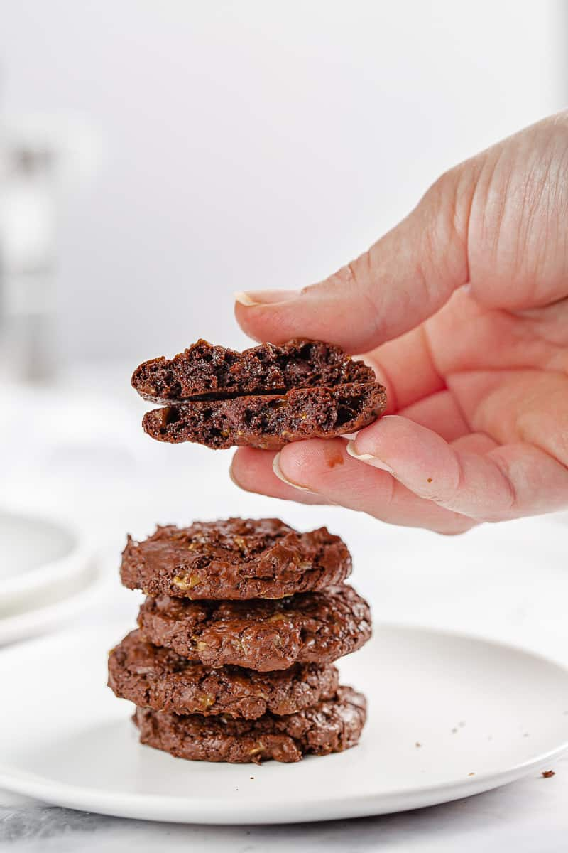 showing the inside texture of a chocolate toffee cookie