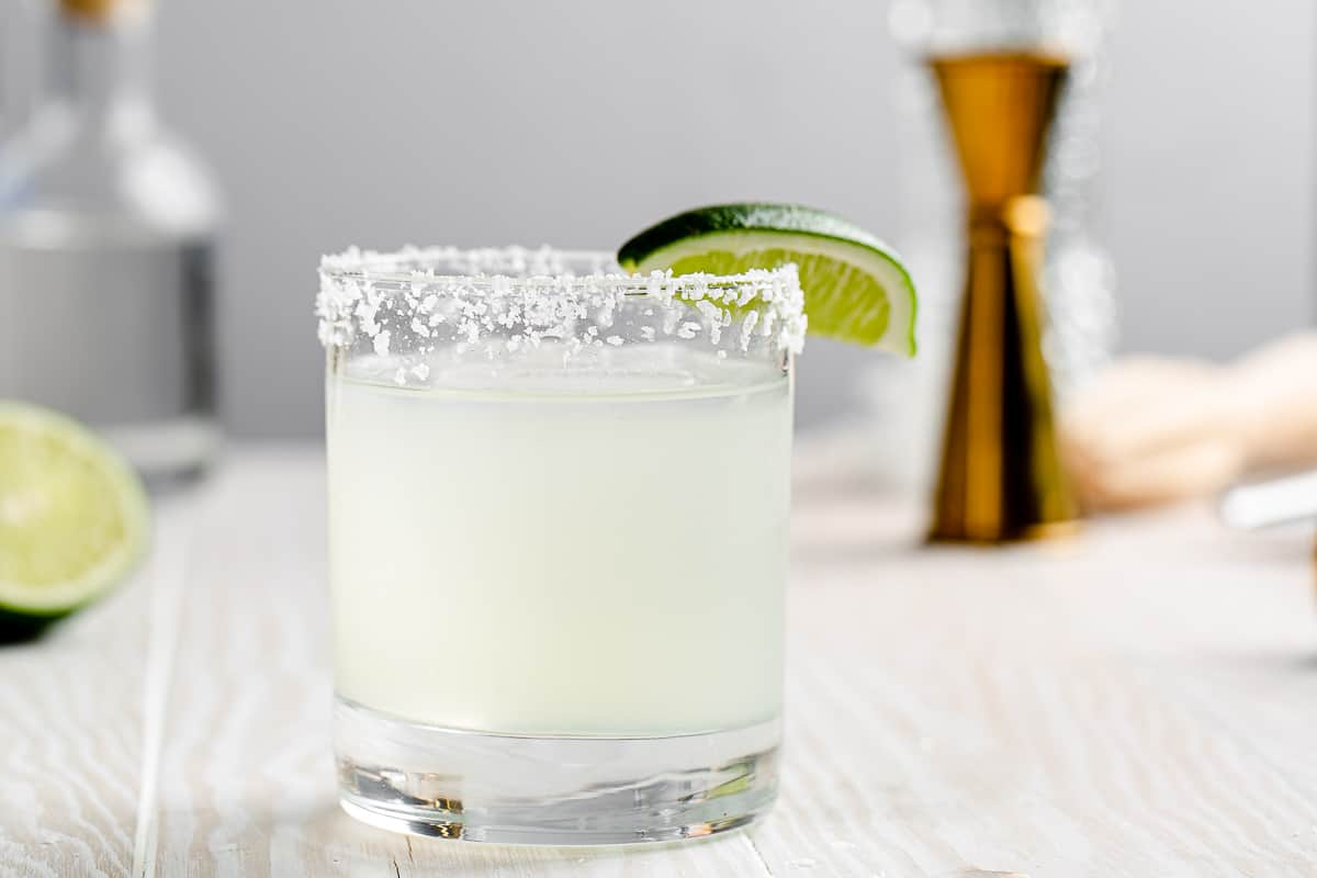 close up of classic margarita with lime wedge