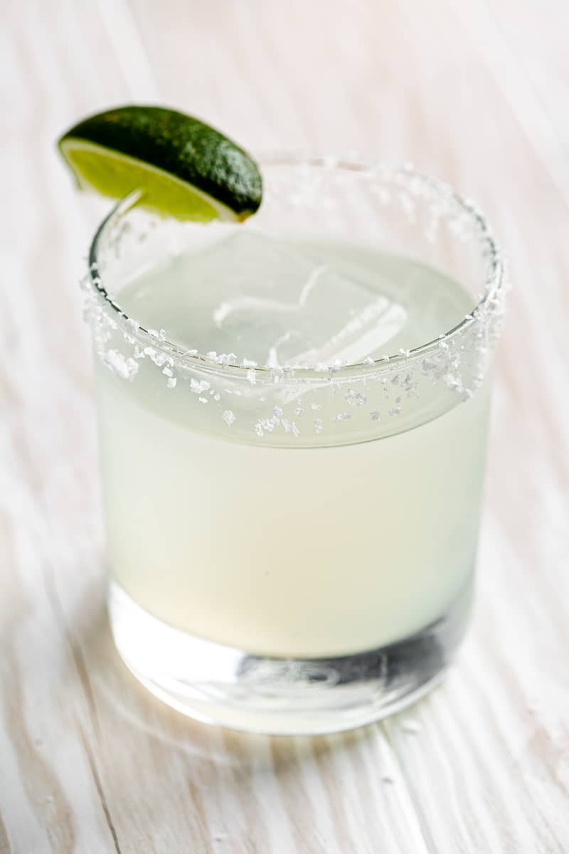 top view of margarita with lime wedge