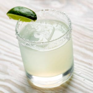 top view of classic margarita with lime wedge