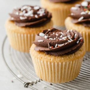 close up of dairy free cupcakes with ganache frosting