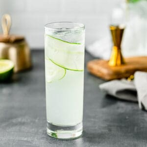 close up of cucumber gin cocktail