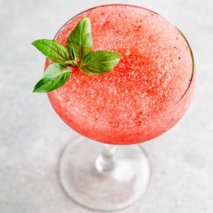 overhead view of frozen strawberry vodka cocktail