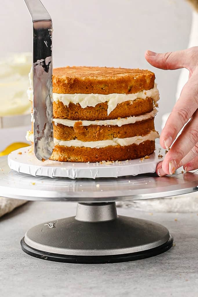 lining up the cake layers