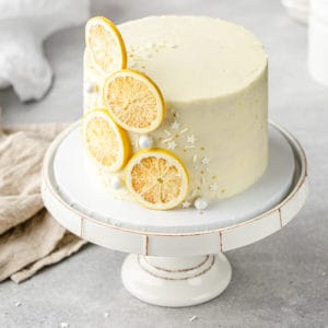 top view of the lemon layer cake on a cake stand