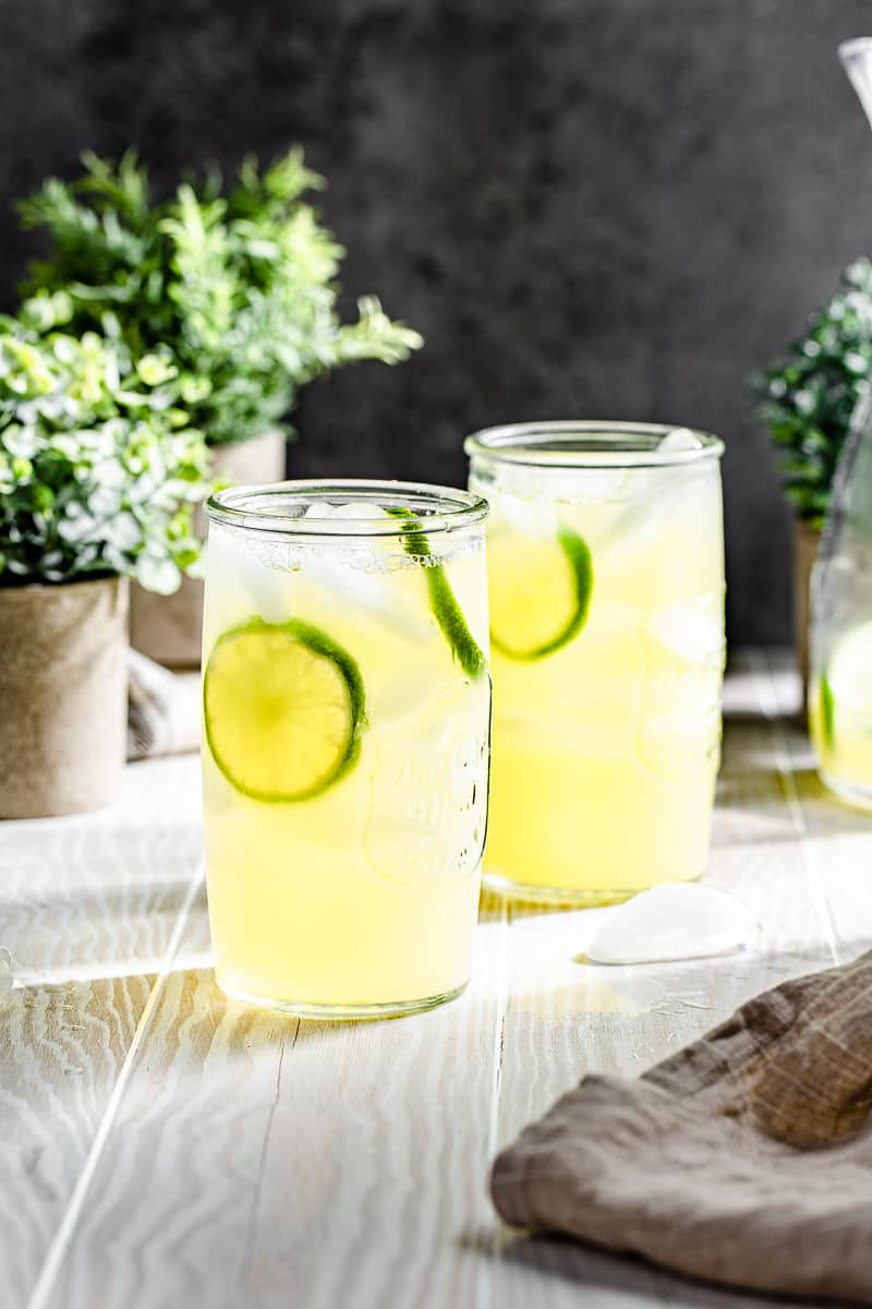 serving glasses filled with lime and pineapple drink