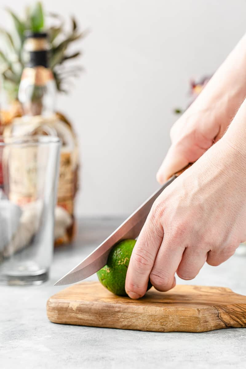cutting a lime