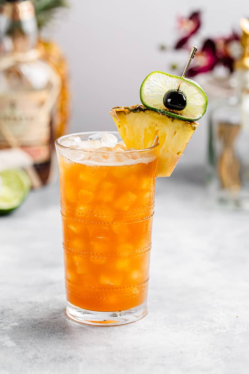 Side view of the Rum and Ramazzotti cocktail, a take on the classic Jungle Bird