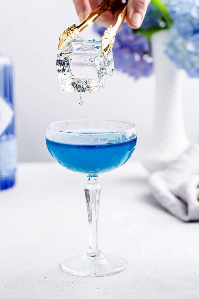 holding dripping clear ice over blue cocktail in a coupe glass
