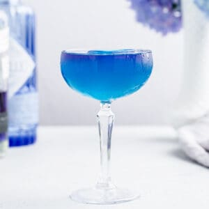 blue cocktail in a coupe glass with a purple layer on top