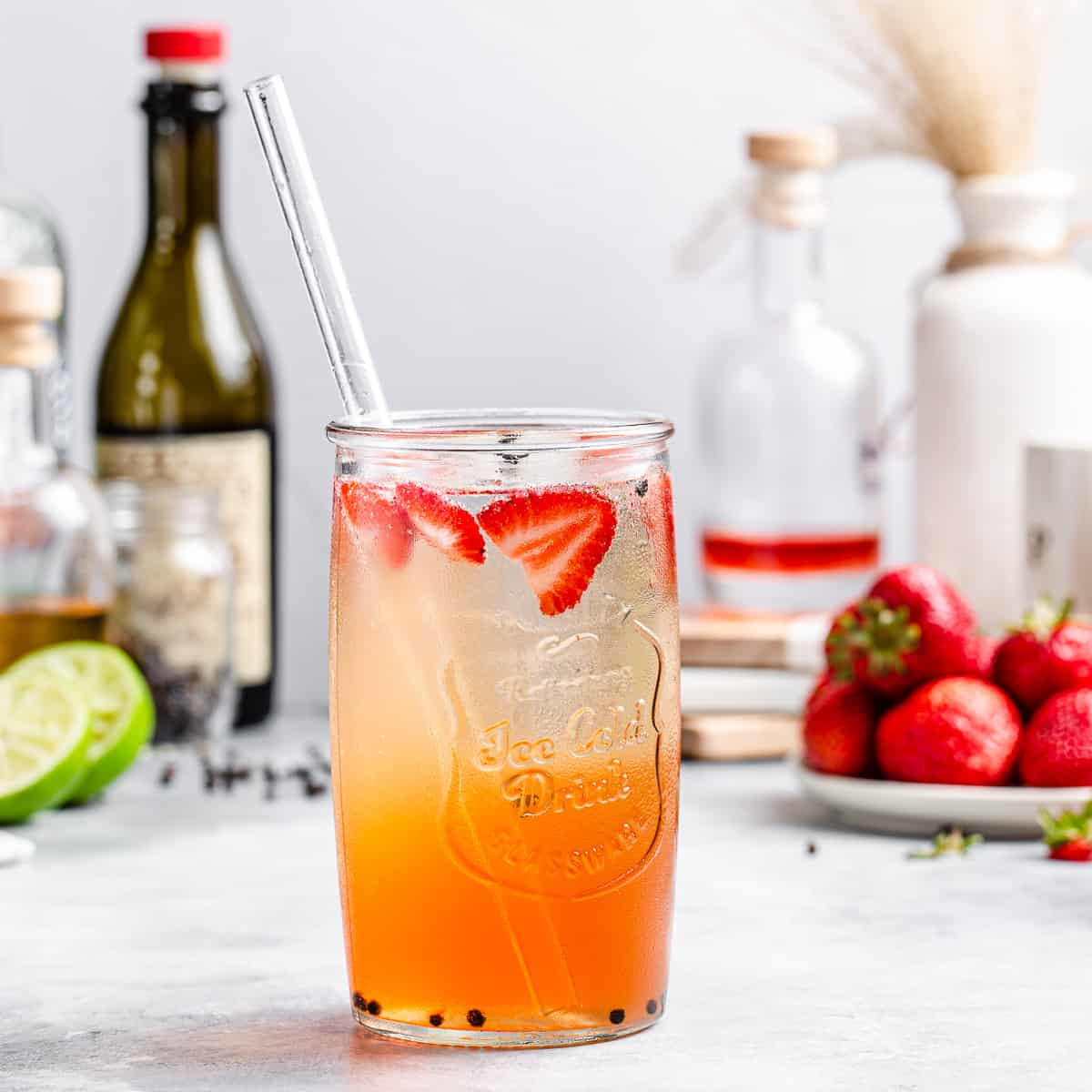 side view of strawberry cocktail