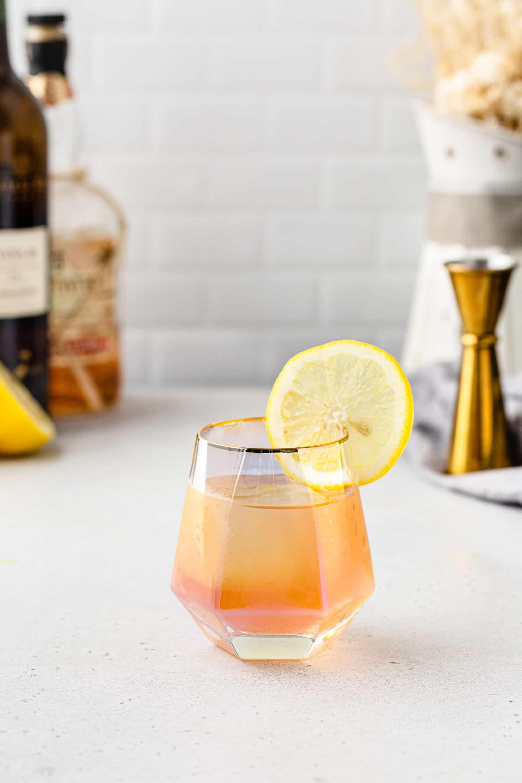 sherry and rum cocktail in an iridescent cocktail glass